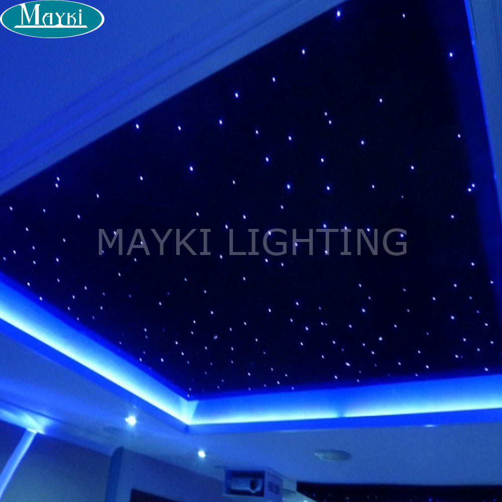 Maykit DIY RGB Fiber Optic Star Ceiling Kit 0.75mm*200pcs Fibers 16w Light Source 28keys Controller Starry Sky Ceiling Light