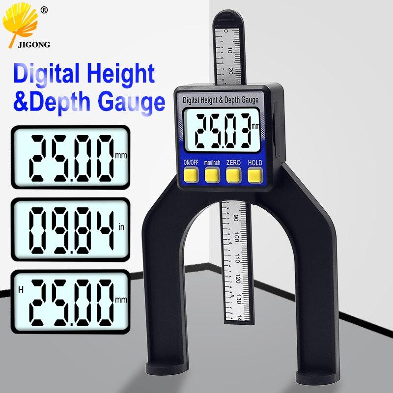 Digital Depth Caliper Height Gauge Digital Tread Depth Gauge LCD Magnetic Self Standing Aperture 0-80mm