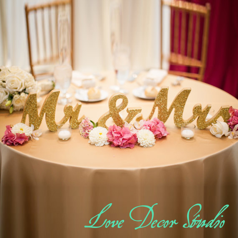 Gold Glitter Mr And Mrs Wedding Signs For Sweetheart Table