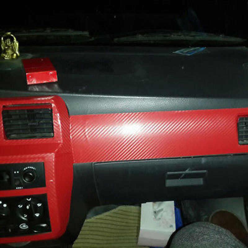 50x12 นิ้ว 3D คาร์บอนไฟเบอร์รถไวนิลฟิล์มสีแดงแผ่นสติ๊กเกอร์ DIY AU