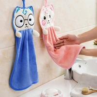 Kitchen Cute Hanging Towel Strong Absorbent Dish Towel Rag Cartoon Hand Towel Home Garden Household Merchandises