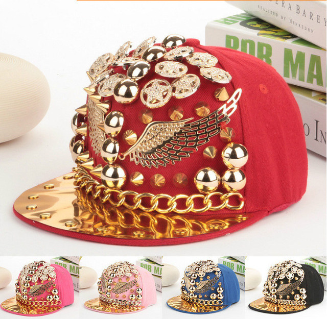 American punk fashion hat cap rivet flat wings hip-hop hip-hop cap Korea trendsetter baseball cap
