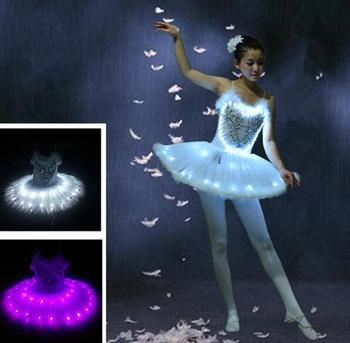 Adult kids Women LED light ballet leotard female adult ballet tutu dress  white swan lake ballet dance tutu costume  leotard