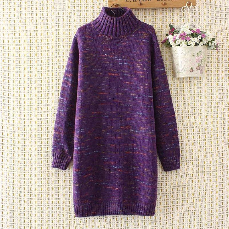 plus size women wool turtleneck long women pullovers winter thick sweater 2017 casual ladies solid Purple