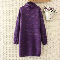 Plus Size Women Wool Turtleneck Long Women Pullovers Winter Thick Sweater 2017 Casual Ladies Solid Purple