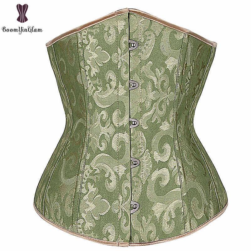 8f85d6b228 Green Corset Top Floral Underbust Bustier Women Daily Outwear Corselet 6XL  Plus Size Korset Solid Elastic