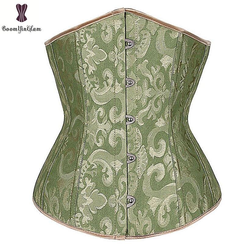Green   Corset   Top Floral Underbust   Bustier   Women Daily Outwear Corselet 6XL Plus Size Korset Solid Elastic Boned   Corsets   korsett
