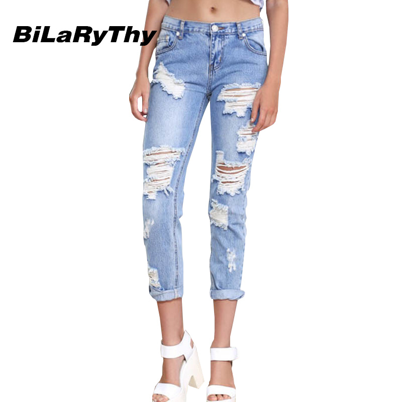 BiLaRyThy New Arrival Women Jeans Mid Waist Fashion Ripped Holes Cotton Denim Pencil Pants Trousers Casual Jeans Female boyfriend holes ripped jeans for women autumn new fashion denim capris jeans mid waisted soft pencil cropped casual pants mujer