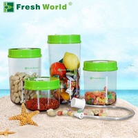 Fresh World Food Grade Plastic Vacuum Food Container 4pcs 2200ml 1600ml 1000ml 700ml