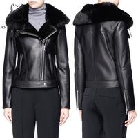 Winter Sheep Genuine Leather Fur Jacket Women Black Sexy Slim Diagonal Zipper Short Feminino Natural Mouton