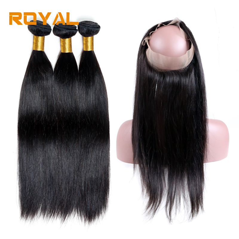 Brazilian Straight With 360 Frontal Closure 1 Pack Human Hair Weave Bundles Royal Non Remy Hair 3 Bundles With 360 Frontal