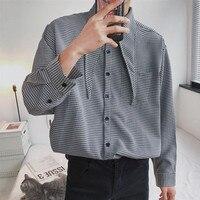 2018 Yeni erkek Moda Kore Tarzı Ceket Kravat Dekorasyon Ekose Uzun Kollu Fransız Manşet Gömlek Gevşek Rahat Giysiler M-XL