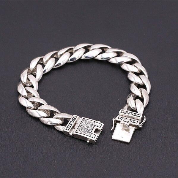 56 г чистого серебра 925 толстая цепочка Для мужчин s браслет Винтаж краткое Дизайн Прохладный 925 стерлингового серебра-- ювелирные изделия Для...