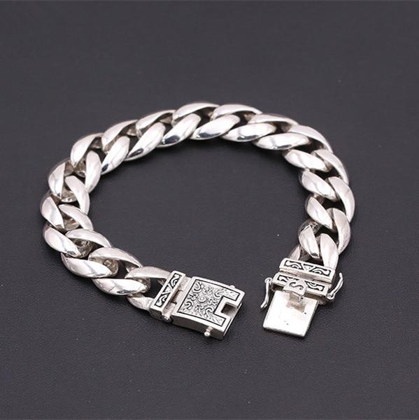 56g Solid Silver 925 Thick Link Chain Mens Bracelet Vintage Brief Design Cool 925 Sterli ...