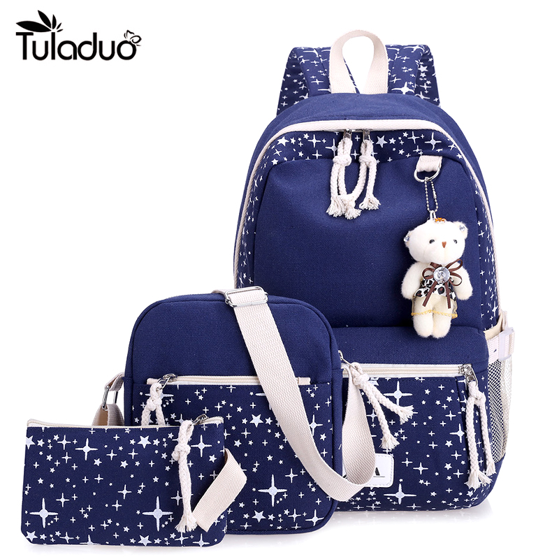 2017 Fashion Women 3Pcs Canvas Backpack Schoolbag School For Girl Teenagers Large Capacity Student Travel Cute Star Printing Bag women fashion backpack college student travel bag satchel schoolbag large capacity ladies pretty shoulders package birthday gift