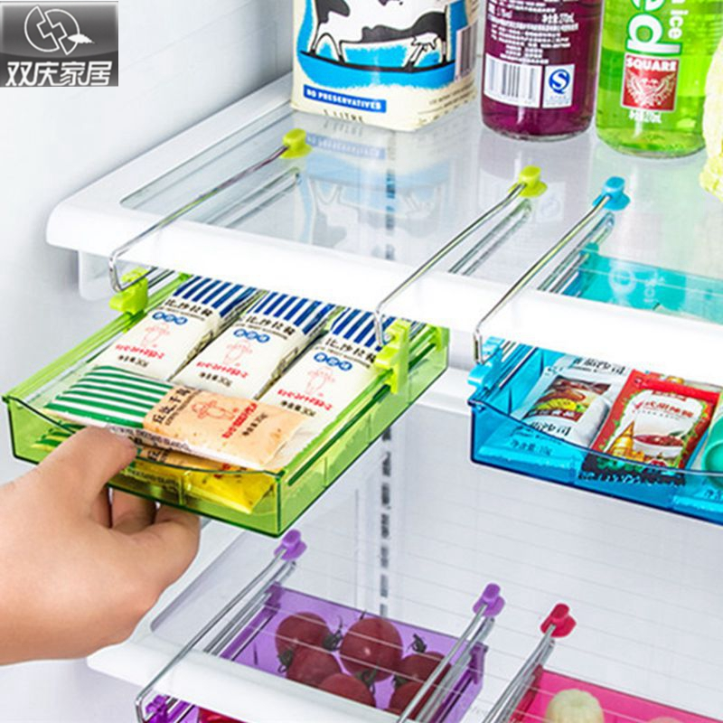 Refrigerator organizer stainless steel track plastic drawer colorful storage box useful shelves under desk office organizer
