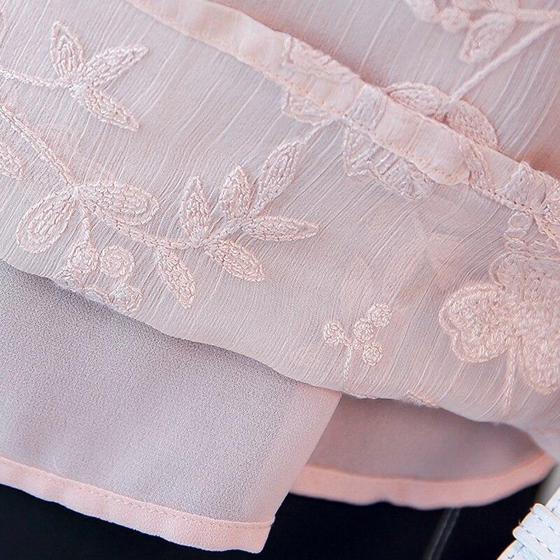 white À Mode Broderie Pink Blouses Mousseline Chemisier De Plus rose Élégante Longues En Velvet Soie Manches Nouveau D'été Tops plus Occasionnel Blanc White Femmes 2019 Dames anB67I4