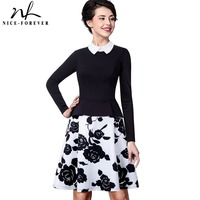 Nice Forever Retro Elegant Flower Print Zipper Turn Down Collar Women Long Sleeve Celebrity A Line