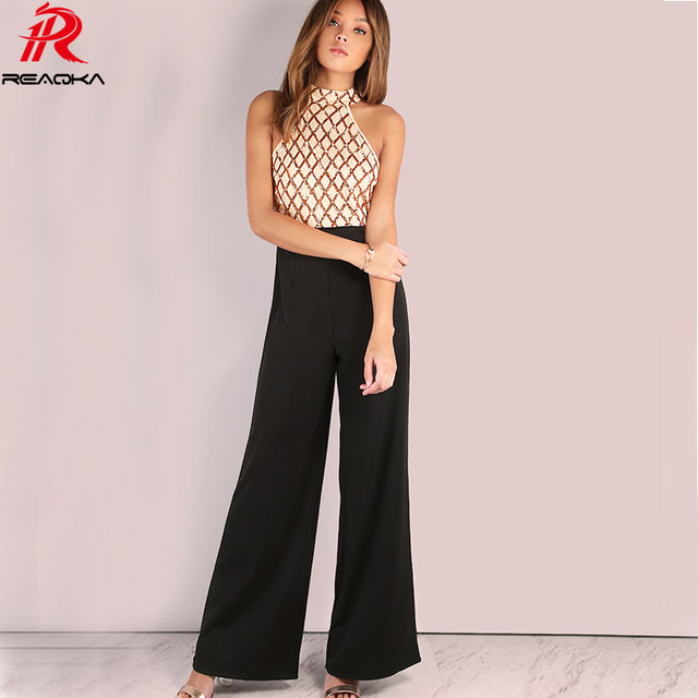 c839c1650b Reaqka Casual Rompers Womens Jumpsuit Women Summer Gold Sequins Patchwork  Boot Cut Full Length Sexy Sleeveless Halter Bodysuit