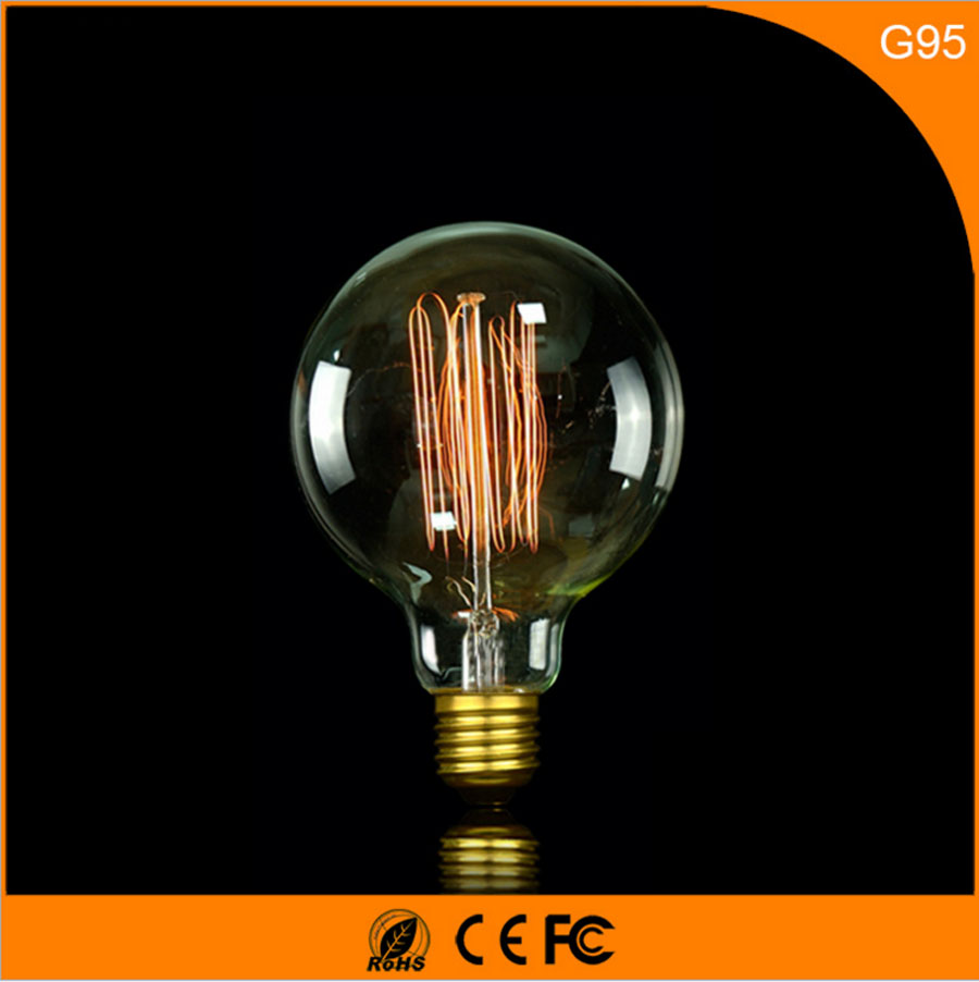 50Pcs Vintage Design Edison Filament E27 B22 LED Bulb ,G95 40W Energy Saving Decoration Lamp Replace  Incandescent Light AC220V 1pcs e27 t80 led energy saving lamp light bulb velas led decorativas home lighting decoration 40w ac85 265v led lamp