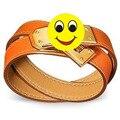 H pulseras y brazaletes Calientes de Nueva imitación de cuero ventas de Muñeca Pulseras Del Abrigo Del Doble con el chapado en oro bloqueo c