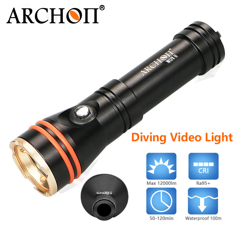 ARCHON waterproof 100m led dive light led underwater dive lights Photography Video Underwater Torch diving photo video light mini 5 5mm camera diameter dust proof and waterproof recordable video adjustable led lights video and photo browsing