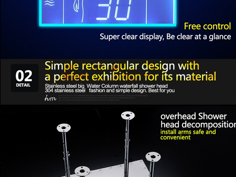 Bathroom Shower Head with 3 Ways Intelligent Digital Concealed Faucet 20 SPA Mist Rainfall Thermostatic Set Touch Panel Mixer (23)