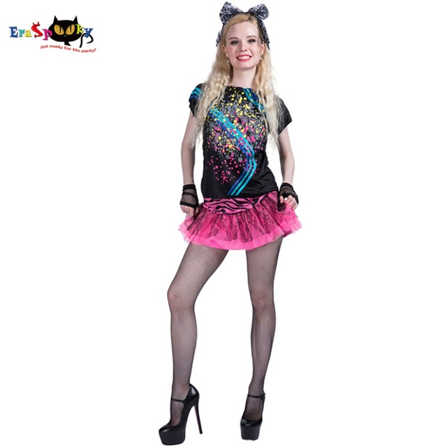Women Sexy 80s Girl Costume Dress Adult Female Cosplay Fancy Dress Outfit Clothing Halloween Costumes  sc 1 st  AliExpress.com & Women Sexy 80s Girl Costume Dress Adult Female Cosplay Fancy Dress ...