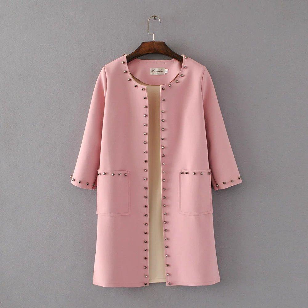 Мода Заклепки Длинный Кардиган Розовый Пальто L31815