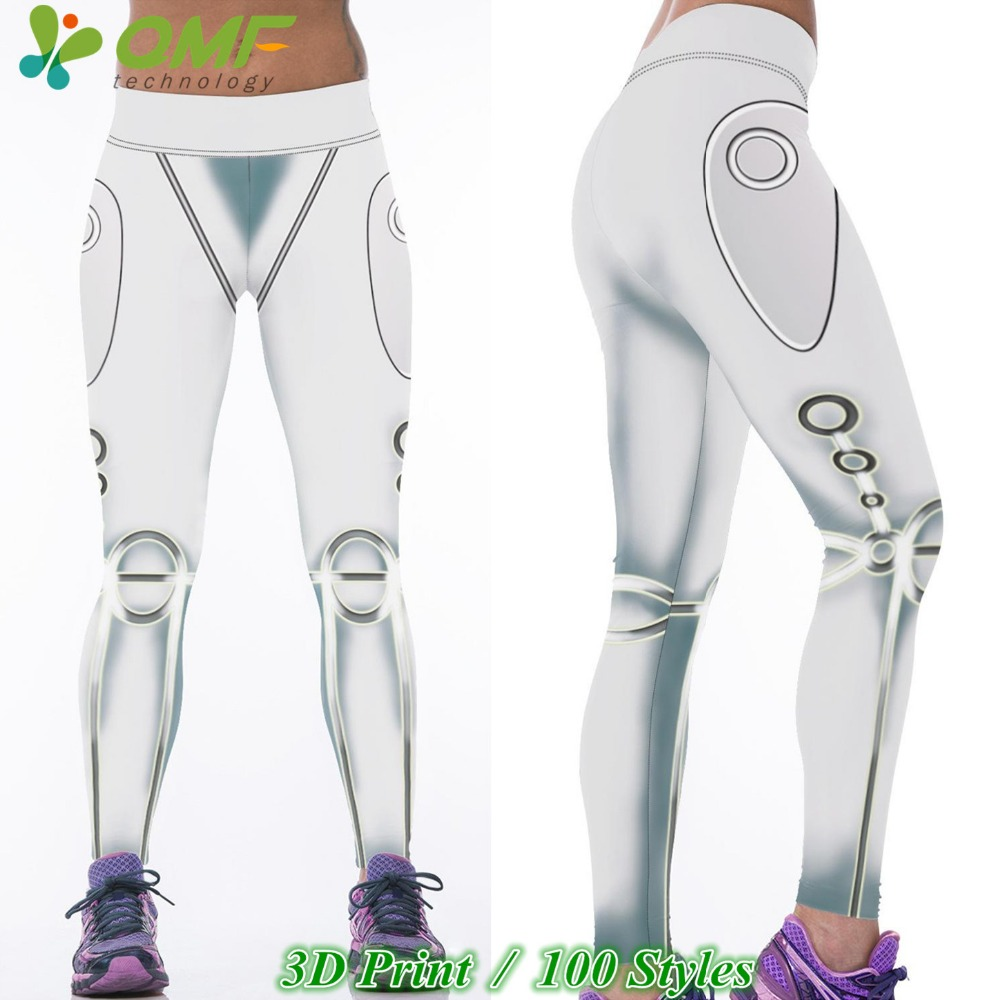 3D Metallic Argent Silver Steel Sports Yoga Pants Print