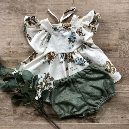 >2019 Summer 2PCS Newborn <font><b>Baby</b></font> <font><b>Girl</b></font> Floral Printed Fly Sleeve Tops Skirt+Solid Color Shorts <font><b>Clothes</b></font> Outfits Sunsuit