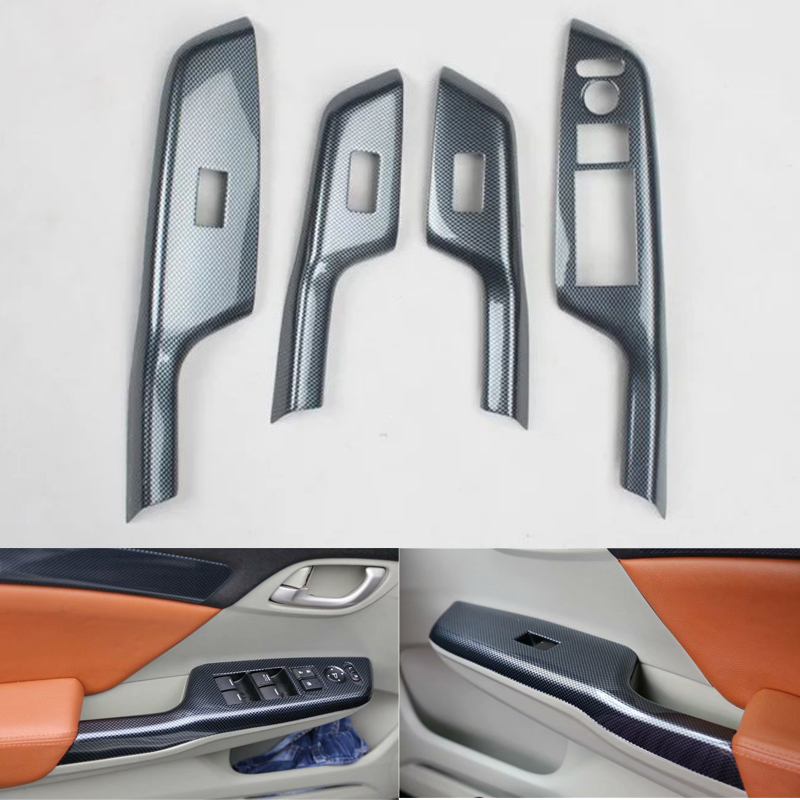 For Honda Civic 9th 2012 2013 2014 LHD Car Door Armrest Window Lift Switch Button Decoration Cover Stickers Car Styling ABS