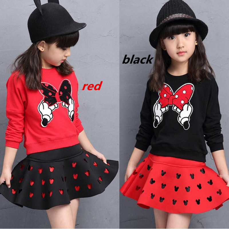 2021 latest spring and autumn piece fitted girls, cartoon bow embroidered sweater hollow horn + skirt suit 3-8 year-old girl set 3