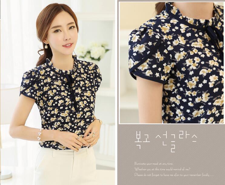HTB1CqrdQXXXXXc8apXXq6xXFXXXe - Floral Print Chiffon Blouse Collar Short Sleeve Women