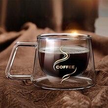 Kreative Quadratisch Transparent Büro Tasse Doppelschicht Hitzebeständigem Borosilikatglas Wärmeschutzglas Becher Kaffeetasse
