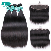 Allrun 3 Pieces Hair Bundles With Frontal Peruvian Straight Human Hair Bundles With Closure Double Weft Remy Hair Extensions