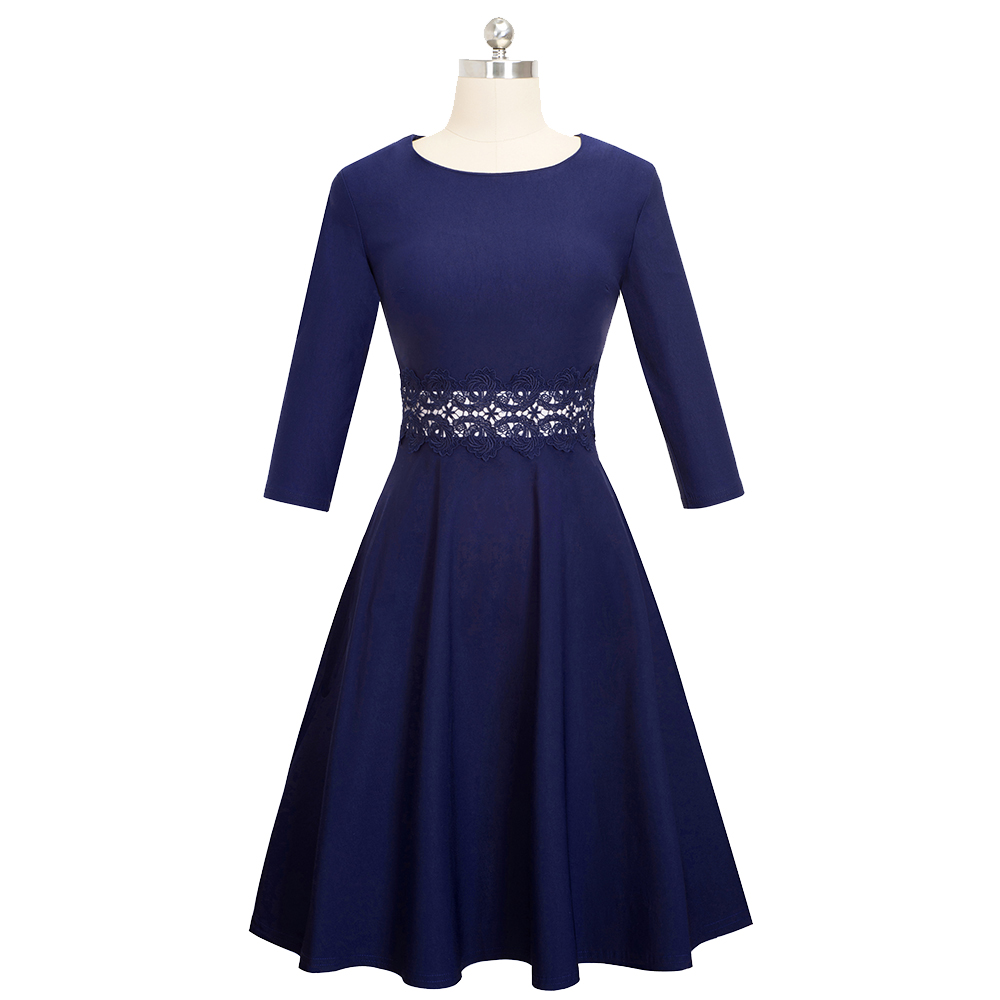 Nice-forever Vintage Elegant Embroidery Floral Lace Patchwork vestidos A-Line Pinup Business Women Party Flare Swing Dress A079 151