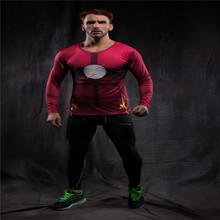 Moto Compression Shirt Flash 3D Printed T-shirts Men Long Sleeve Flash Cosplay Costume Slim Fit Gym Clothing Sport Tops Male