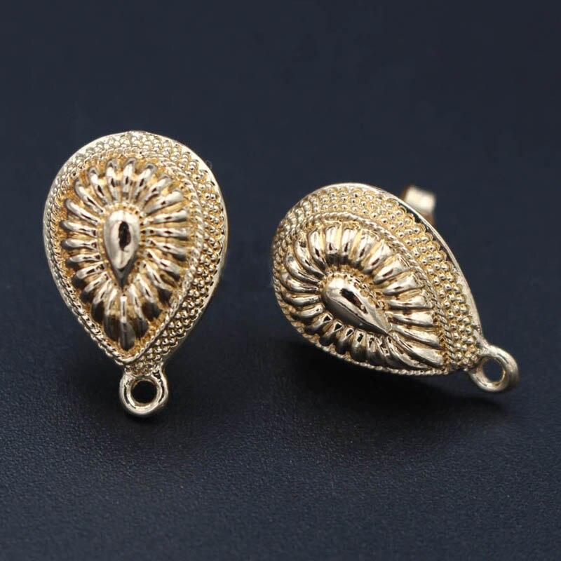 Earrings Post With Loop Hanger Stopper Hollow Drop Shape Base DIY Retro Metal Clip Stud Earrings Jewelry Findings 12x18mm