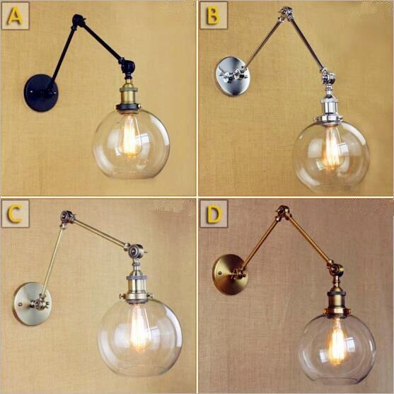 edison retro bola de vidro luzes de parede lampada de parede de iluminacao casa do vintage