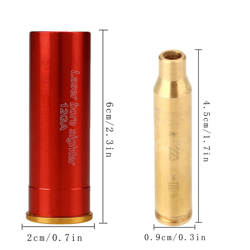 Rem Jauge Laser Alésage Sighter Red Dot 12GA/243 7mm-08/308/. 223Rem/9mm Calibre Cartouche Sight Laser Versez Pistolet Pistolet fusil