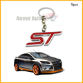 Auto Key Chain, 5pcs Chrome Finish red ST Key Chain Fob Ring Keychain For Ford Focus