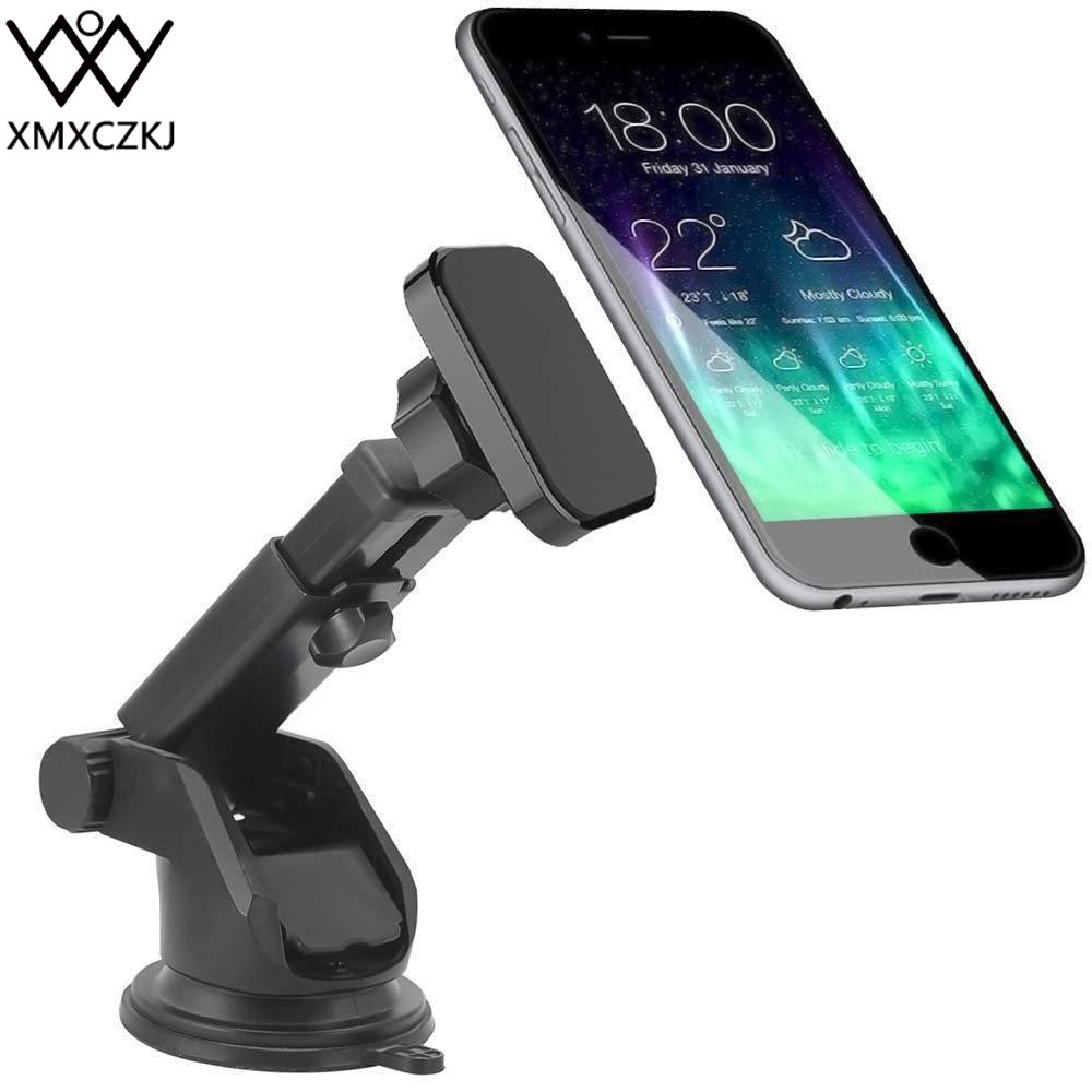 Xmxczkj traço magnético carro pára-brisa montar titular do telefone celular suporte de braço longo para o iphone xr ímã telefone titular para mi8