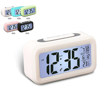Home Smart Temperature Mute Backlight Electronic Digital Alarm Clock Snooze Table Wake Up LED Decor