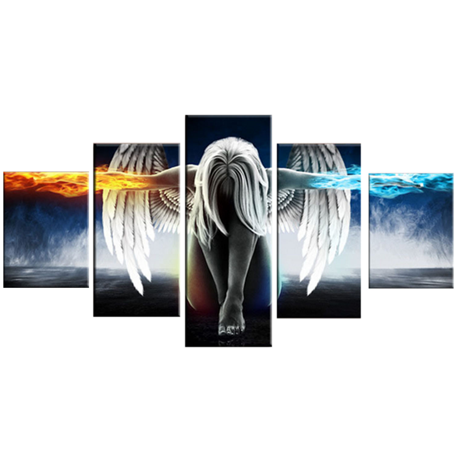 5 PCS Angel Style Printed Canvas Set Decoration Wall Art for Home Living Room Bedroom Office Hotel Pub - intl