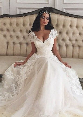 vestido de noiva deep v neck a line wedding dresses lace short sleeves layered floor