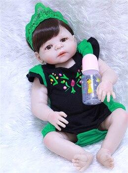 55cm Full Body Slicone Reborn Baby Doll Toys cute fake newborn baby girl dolls bebe kids gift reborn bonecas