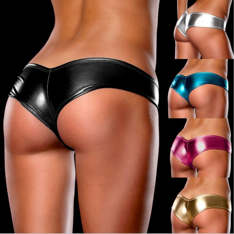 <font><b>16</b></font> colors <font><b>Sexy</b></font> Women Patent Leather Panties Briefs <font><b>Bikini</b></font> Jockstraps Underwear Underpants T-back for Women's image