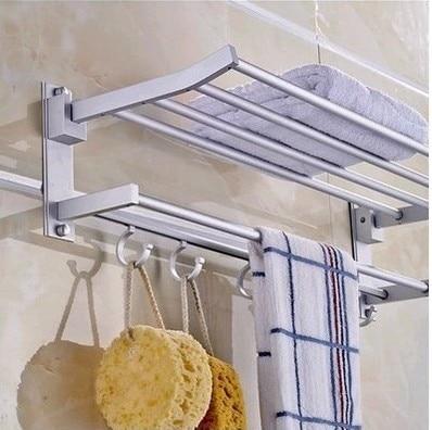 Free shipping 60cm Aluminum towel bar towel rack bathroom shelf shelf T bathroom accessories cloth hook bathtowel rack