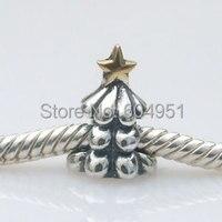 1 stks/partij 925 sterling zilveren europese kerstboom charm met goud david ster fit pandora style armbanden sieraden